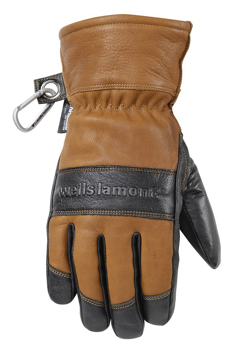 Men's Leather Winter Gloves, Waterproof Glove Insert, HydraHyde, Thinsulate, Large (Wells Lamont 7664L)