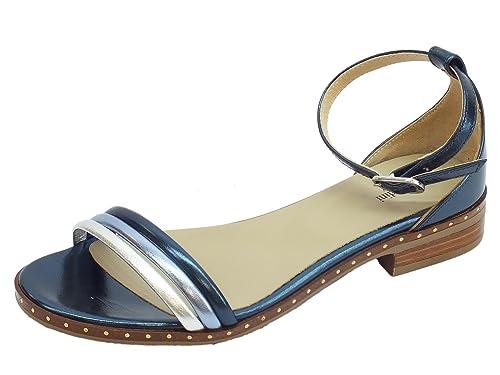 Sandali donna NeroGiardini in laminato blu e argento tacco basso