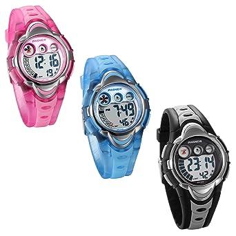 JewelryWe 3pcs Relojes para Niños Niñas Reloj Deportivo Digital Para Aire Libre Reloj Infantil De Colores Transparente Correa de Silicona Suave, ...