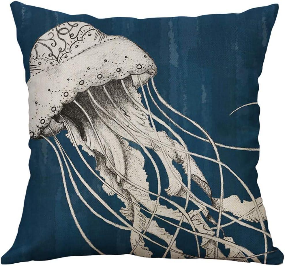 FENSIN Meereslebewesen Korallen Schildkr/öte Seepferdchen Wal Oktopus Kissenbezug Kissenbezug 40x40cm