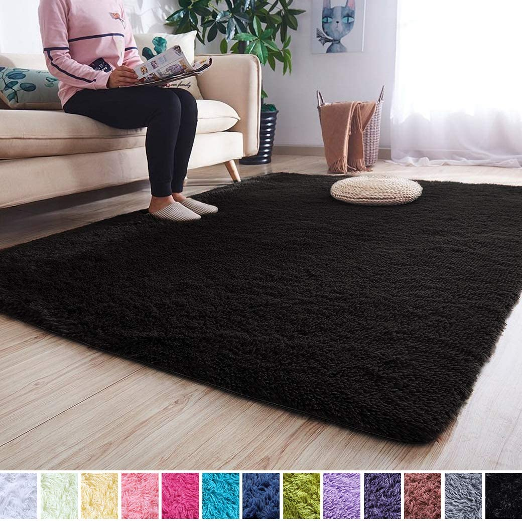 Noahas Super Soft Modern Shag Area Rugs Fluffy Living Room Carpet Comfy Bedroom Home Decorate Floor Kids Playing Mat 5.3 Feet by 7.5 Feet, Black