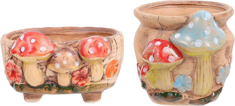 DOITOOL 2pcs Succulent Pots Indoor Outdoor Planter Ceramic Flower Pot with Mushroom Decor Plant Pot Pen Holder Home Office Desk Decor