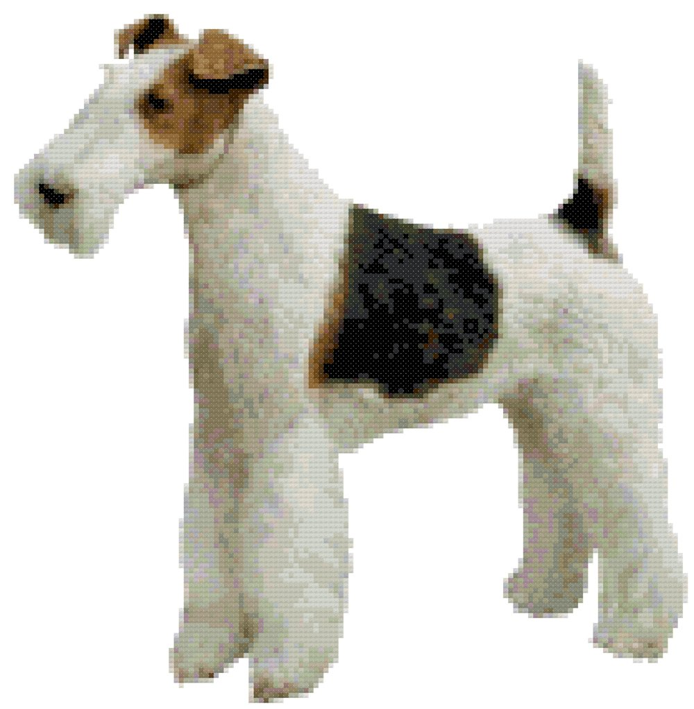 Amazon.com: Wire Haired Fox Terrier Dog Counted Cross Stitch Pattern ...