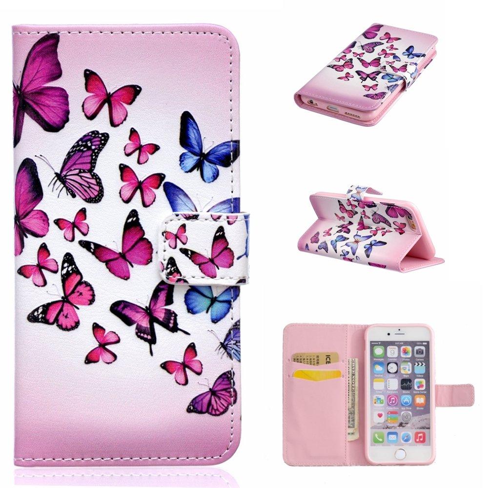 iGrelem iPhone 6 Plus / 6s Plusケース[無料強化ガラススクリーンプロテクター付き]、iPhone 6 6s Plus用PUレザーフリップカバー5.5インチ、花、蝶、鹿、クマの羽パターン(蝶、ピンク)   B01LSJ36J8