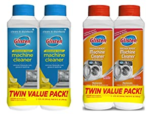 Glisten Dishwasher Magic Machine Cleaner and Disinfectant 2-Pack and Washer Magic Washing Machine Cleaner and Deodorizer 2-Pack