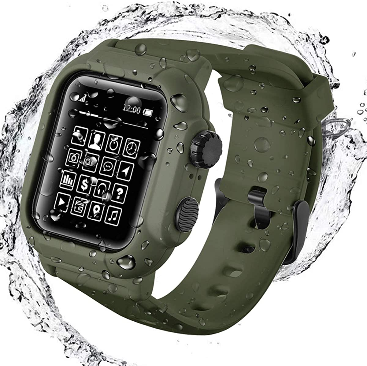 Waterproof Case with Band Compatible for Apple Watch Series 3 2 42mm & Series 4 5 6 SE 44mm, Soft Silicone Band Loop with Case IP68 Rough Waterproof, Shockproof for iWatch 42mm 44mm Case Band