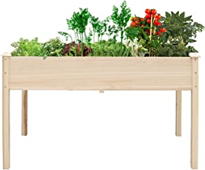 unho Garden Planter Raised Bed(33.2 x 17.7 x 29.3in), Natural Wood Planter Box Elevated Stand Outdoor for Herbs and Veges Growing
