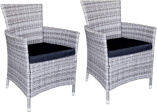 Wohaga Boston Lot de 2 fauteuils en rotin synthétique avec coussin d'assise Noir