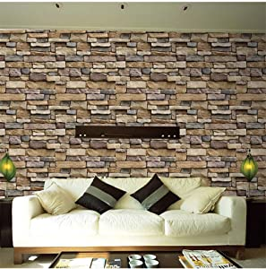 Stone Peel and Stick Wallpaper-Brick Wallpaper Contact Paper Self Adhesive Wallpaper Shelf Paper Sticker Decor Wall Paper for Living Room Home Decor