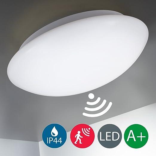 Plafón con Sensor de Movimiento LED Ø29cm, IP44, 12W, cristal auténtico, Lámpara