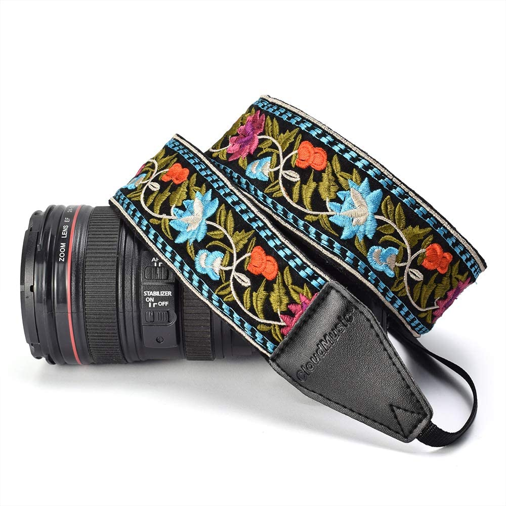 Metallic Vintage CLOUDMUSIC Camera Strap Jacquard Weave Neck Strap For Girls Men Women Floral Series