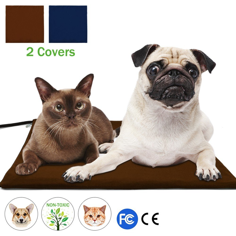 Pet Heating Pad, NuoYo Warming Pet Heat Mat for Dogs and Cats with 7 Adjustable Temperature Chew Resistant Cord Soft Removable Waterproof Electric Cover Overheat Protection (Large 19.7''x19.7'')