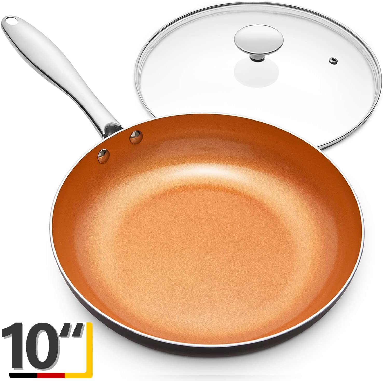 MICHELANGELO 10 Inch Frying Pan with Lid