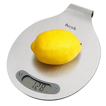Aicok Bascula de Cocina Digital, 5 kg /11 lbs, Acabado en Acero Inoxidable, Se puede Colgar y Con Función de Tara