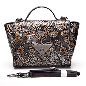 0d4e95ba0bf94 AFCITY Damen Handtasche Kosmetiktasche Damen Leder Retro Tasche Designer  Floral Top Griff Handtasche Tote Satchel Cross