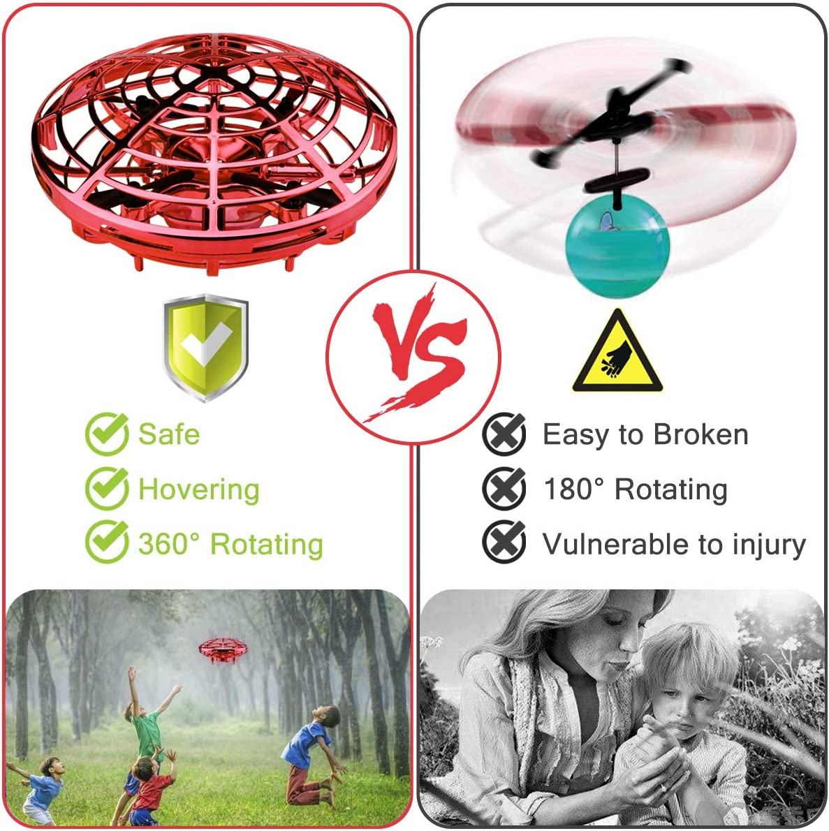 YOSICIL Hand Operated Drones for Kids Mini Drone UFO Flying Ball 360 Degree Rotation Toys for Beginner Boys Girls