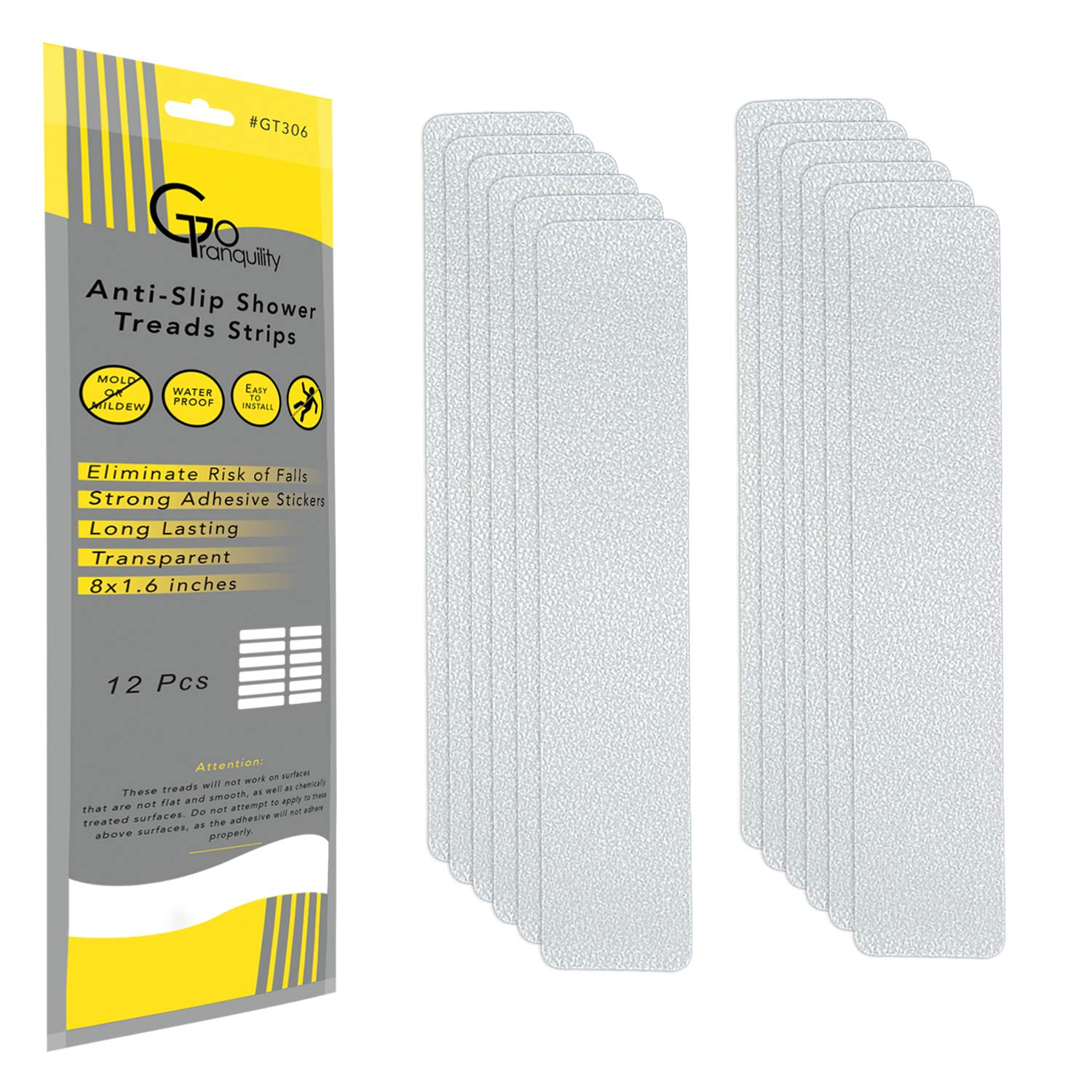 GoTranquility Anti Slip Safety Bathtub Stickers Non-Slip Shower Strips Treads to Prevent Slippery Surfaces Clear PEVA Grip Tape (12, 1 Pack)