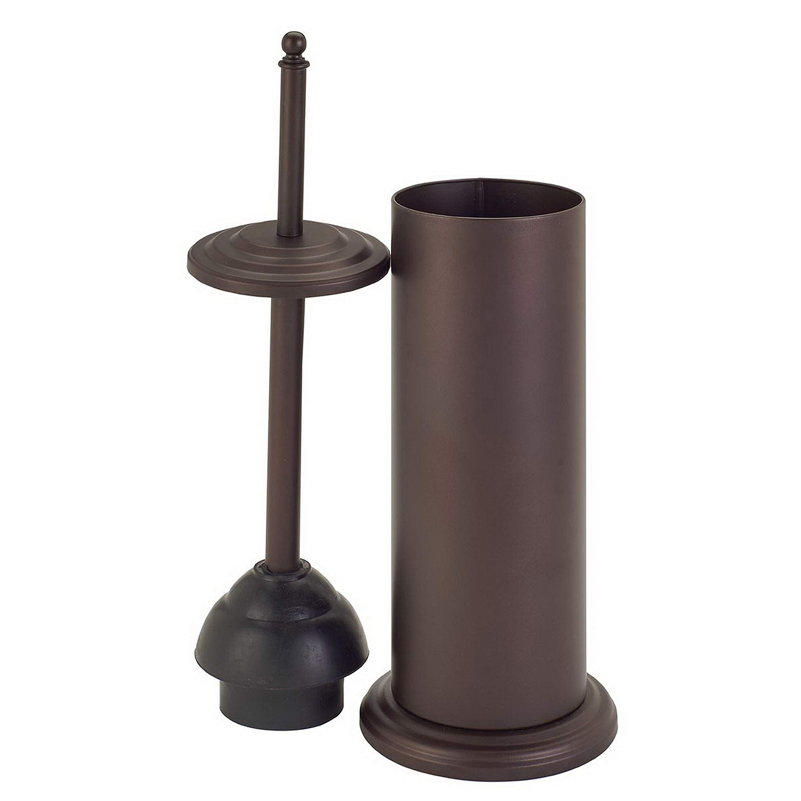 Bath Bliss Cylinder Free Standing Toilet Plunger & Holder, Water & Rust Resistant, Decorative, Bronze by Bath Bliss