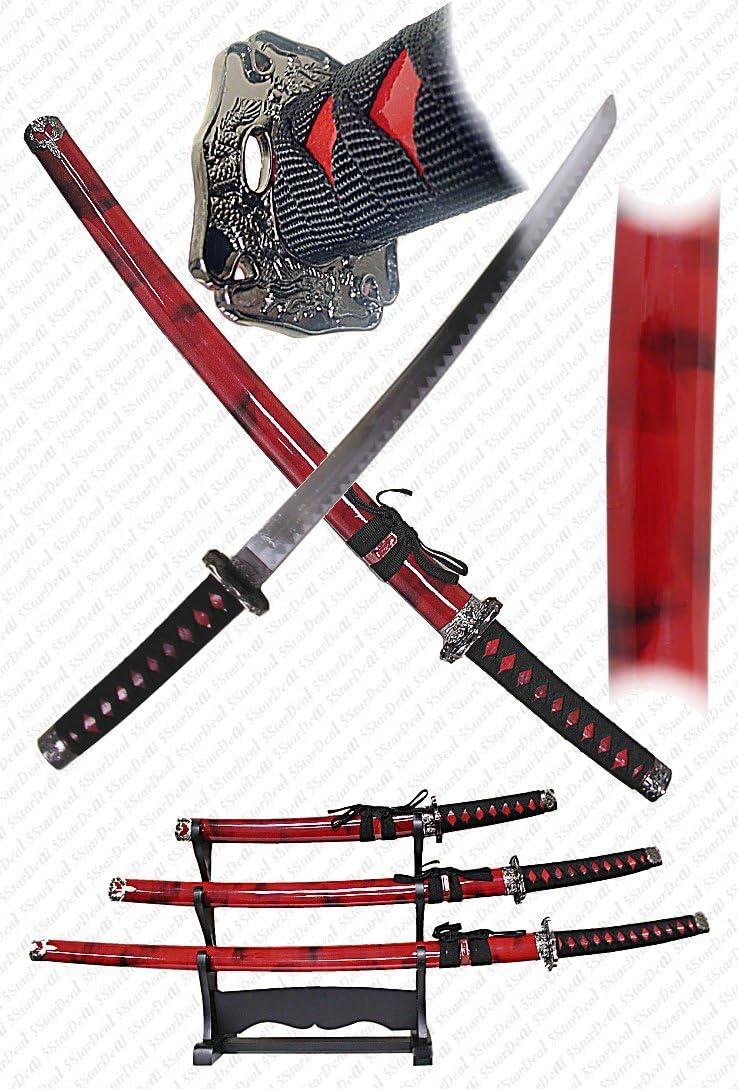Master Cutlery 3 Piece Marble Red Katana Sword Set