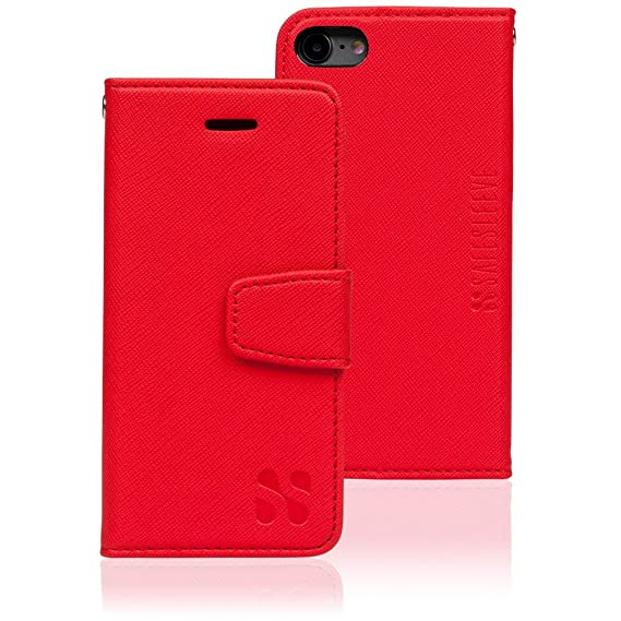 low priced 27701 58a77 Anti Radiation RFID iPhone Case: iPhone 8, iPhone 7 and iPhone 6 ELF & RF  Blocking Identity Theft Protection Wallet (Red)