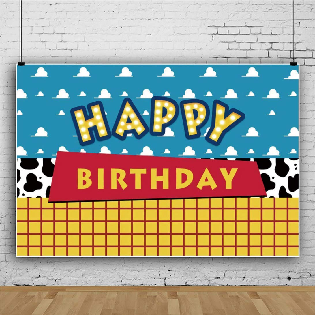 5x4FT Cow Pattern Yellow Lattice Photography Backdrop for Cartoon Happy Birthday Party Banner Western Cow Boy Colorful Blue Sky Flags Polyester Background Photo Booth