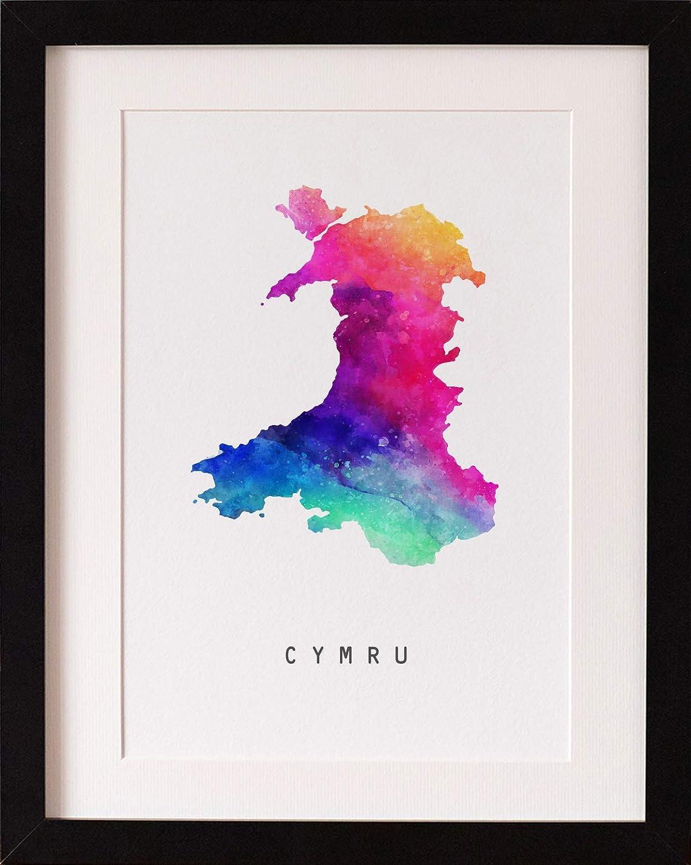 Black or White Frame FRAMED Watercolour Cymru Wales Map Rainbow Print Modern Art