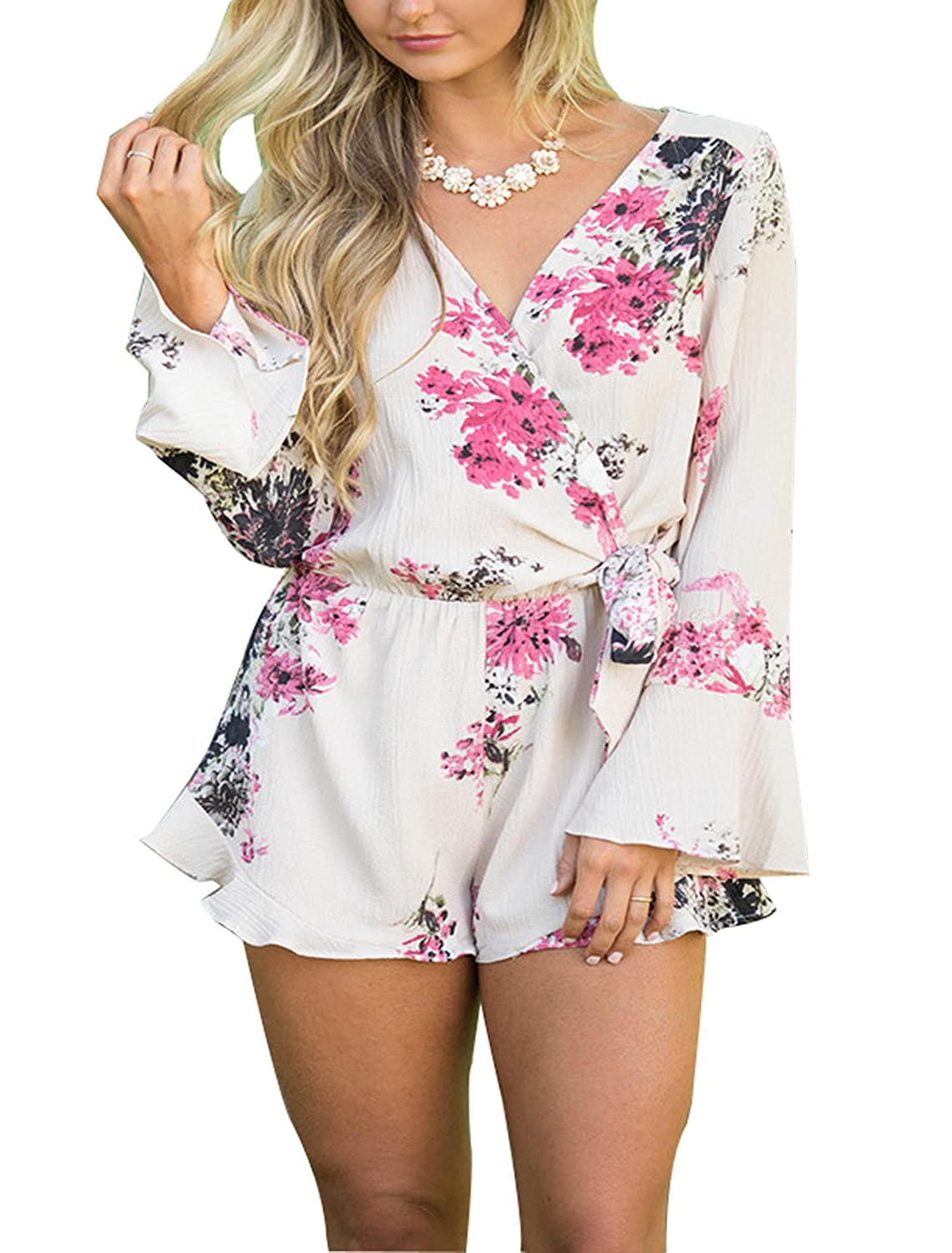 Womens Bohemian Long Sleeves V Neck Floral Print Short Romper Jumpsuit Outfit