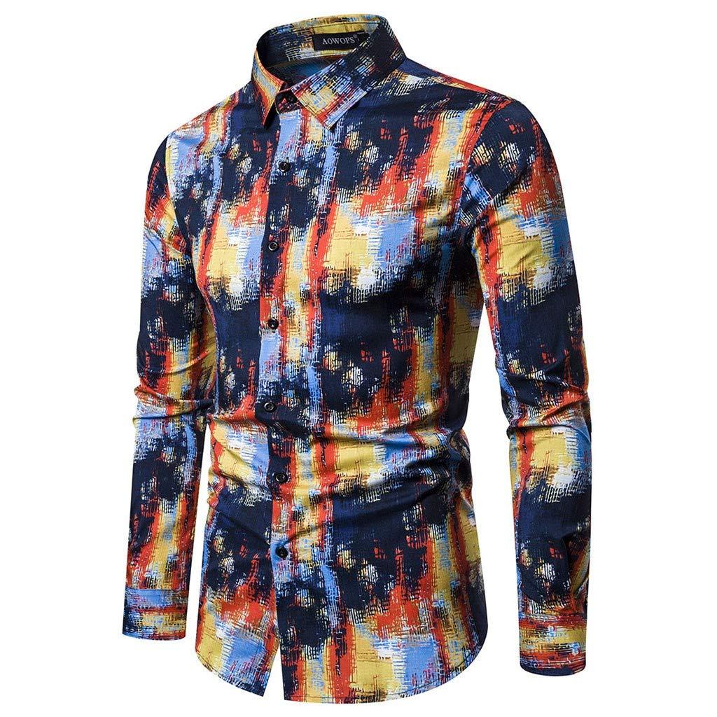 Mens Business Leisure Printing Long-Sleeved Shirt Top Blouse RNTOP Mens Button Down Shirts
