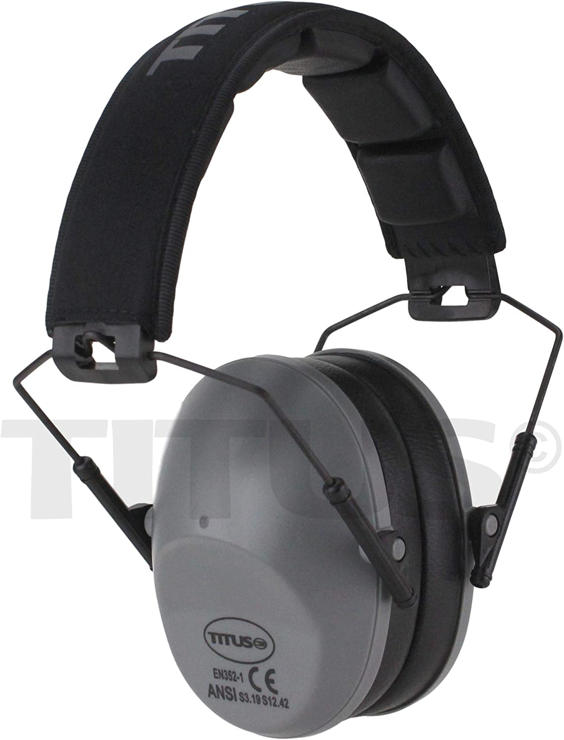 No Pouch, Olive Drab TITUS Low-Profile 34 Decibel NRR Safety Earmuffs