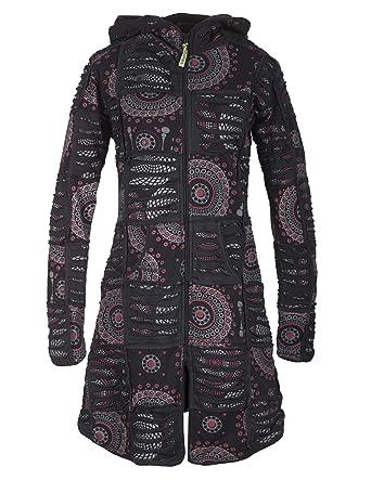 Vishes Damen Patchwork Jacke aus Baumwolle mit Zipfelkapuze Goa Jacke Hippie
