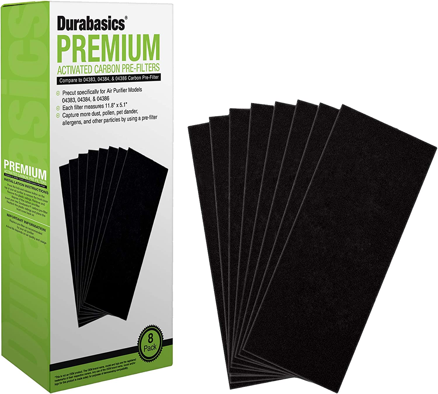 Durabasics 8 Pack Pre-Filters Compatible with Hamilton Beach True Air Filter Replacement for Hamilton Beach True Air Purifier | 8 Hamilton Beach Air Filter Replacements for Hamilton Beach Air Purifier