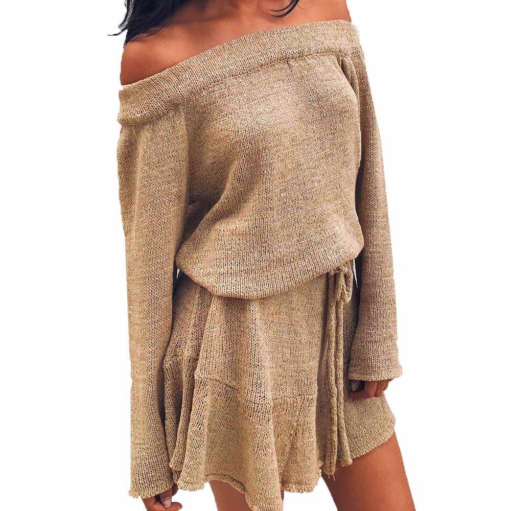 Ansenesna Damen Kleid Pullover Herbst Winter Elegant Schulterfrei Langarm Kleider Mit Gürtel Kurz Locker Für Frauen Mädchen