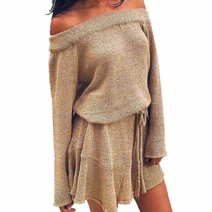 ZORE Mujeres Tejer suéter de Manga Larga Jersey Vestido de Hombro Vestido Casual Women Sweater (