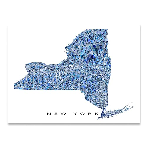 Amazon.com: New York Map Print, NY State Wall Art Decor, Blue: Handmade