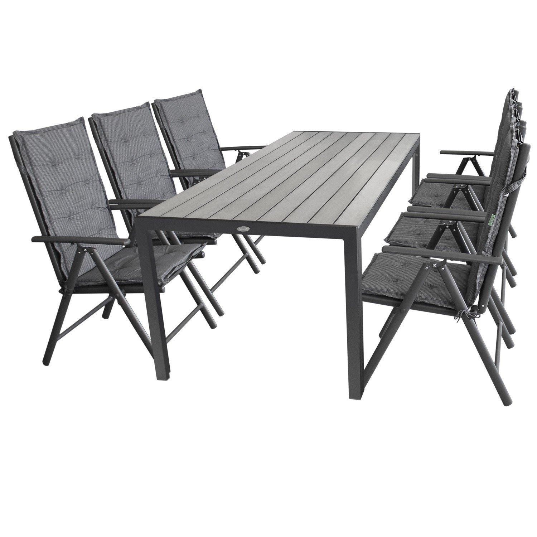 Multistore 2002 13tlg. Gartengarnitur Aluminium Polywood 205x90cm + 6X Hochlehner, 2x2 Textilenbespannung, Lehne 7-Fach verstellbar + 6X Stuhlauflage - Gartenmöbel