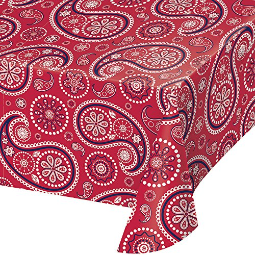 "Creative Converting 329662 TABLECOVER PL 54"" X 108"" AOP RED PAISLEY, 54 x 108"", Multicolor"