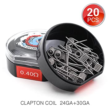 20 Pieces Made Coil, Clapton Heating Wire, AWG(24GA + 30GA) 0.4ohm ...