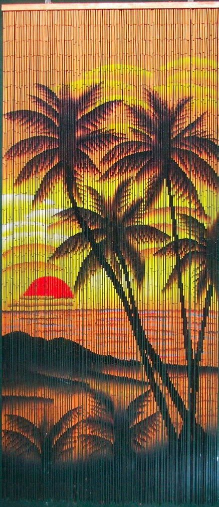 Amazon Tropical Sunset Palm Trees Beaded Curtain 125 Strands Hanging Hardware Home Kitchen
