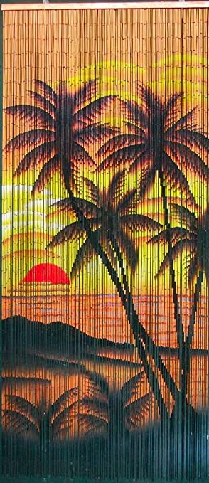 Amazon.com: Tropical Sunset Palm Trees Beaded Curtain 125 Strands ...