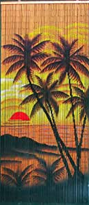 ABeadedCurtain 125 String Tropical Sunset Palm Trees Beaded Curtain 38% More Strands Handmade with 4000 Beads (+Hanging Hardware)