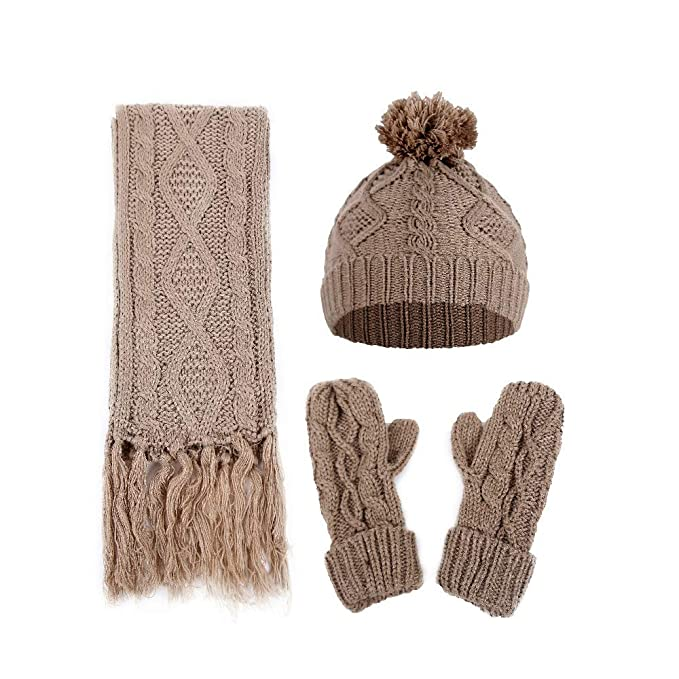 d52227be9de 3 Piece Beanie Hat Scarf and Gloves Set Winter Warm Unisex Knit Beanie Hat  with Pom