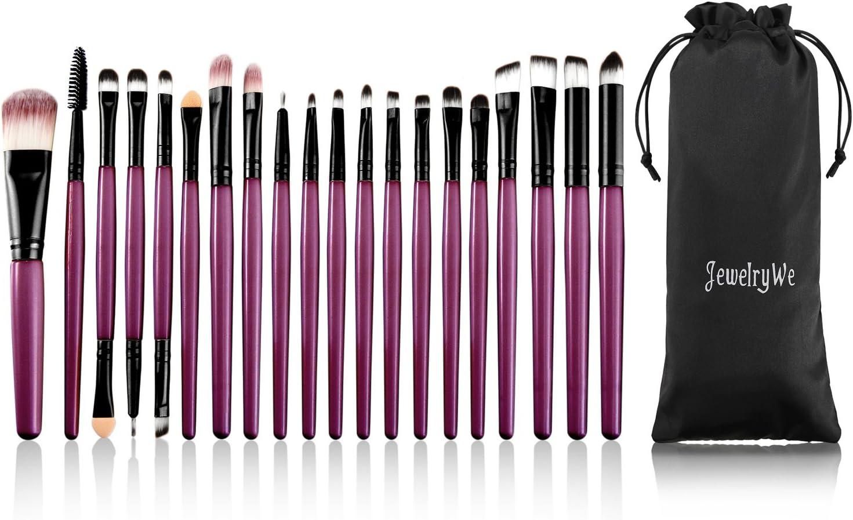 JewelryWe Juego de Brochas de Maquillaje Profesional 20 Piezas Pinceles Cosmético Make Up Brush Color Violeta Sets de Cepillo de Maquillaje