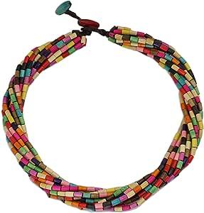 "NOVICA Multicolored Beaded Wood Layered Torsade Necklace 'Phuket Belle', 19.75-21.75"""