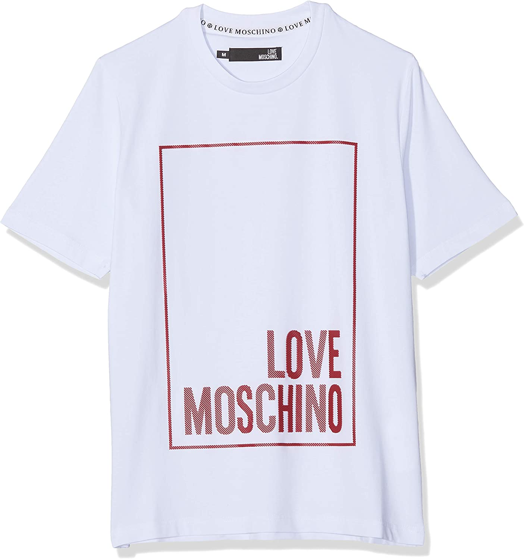 Love Moschino Logo Box Print_Regular Fit Short Sleeve T-Shirt Camiseta para Hombre