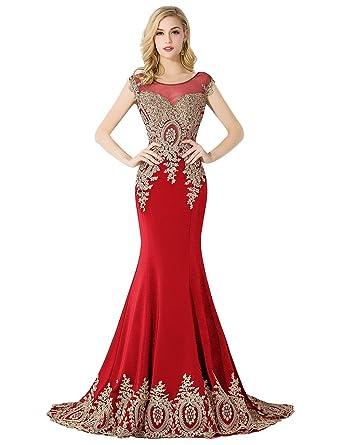 Amazon.com: MisShow Women\'s Mermaid Prom Dresses 2017 Applique ...