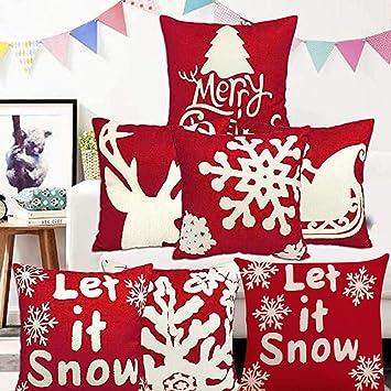 Amazon.com: Fundas de almohada de Navidad, 6 piezas, diseño ...