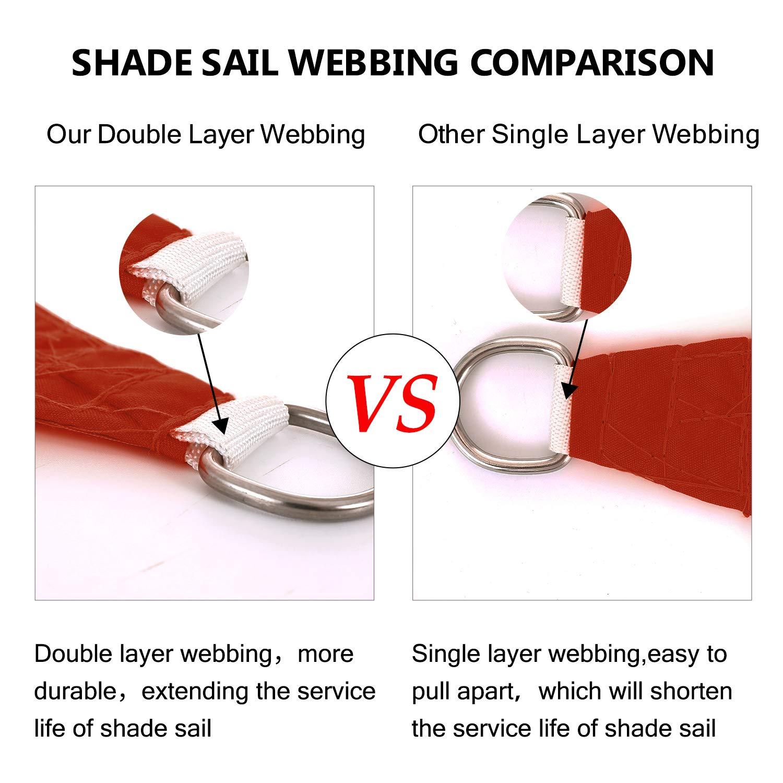 Tuosite Terylene Waterproof Sun Shade Sail UV Blocker Sunshade Patio Equilateral Triangle Knitted 220 GSM Block Fabric Pergola Carport Awning 12 x 12 x 12 in Color Iron Red