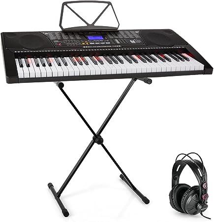 Schubert Etude 225 USB Teclado con auriculares de estudio y soporte - Piano de 61 teclas luminosas, Reproductor MIDI USB, 255 registros, 255 ritmos, ...