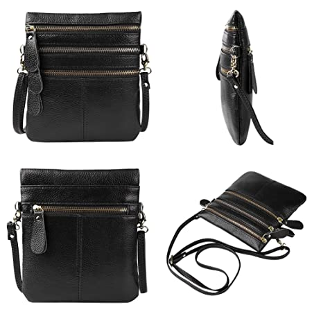 4b59b0d78134 Vbiger Women Genuine Leather Change Purse Chic Handbag Casual Messenger Bag(Black)   Amazon.co.uk  Luggage