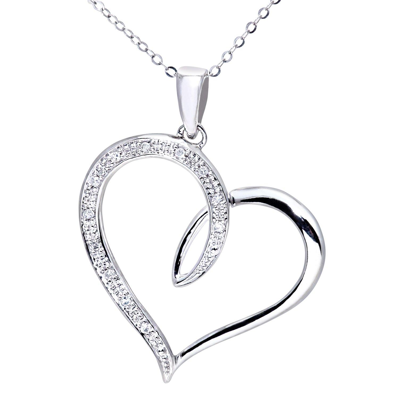 Naava Women s 9 ct White Gold Diamond Heart Pendant with 46 cm